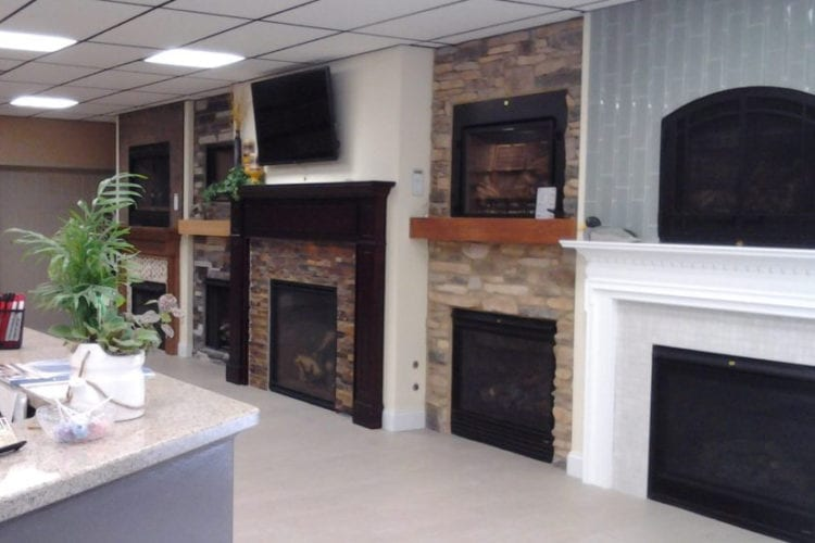 HP Outlet fireplace wall